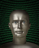 Android with human eyes in front of binary code Royalty Free Stock Images