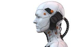 Android-humanoid zijaanzicht van de robot cyborg vrouw - het 3d teruggeven royalty-vrije illustratie