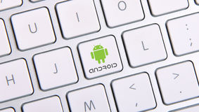 Android icon button. Android icon on white keyboard button royalty free stock photo
