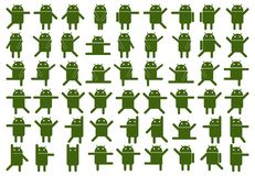 Android Icons. In various poses stock illustration