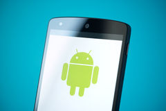 Android Logo On Google Nexus 5 Royalty Free Stock Images