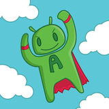 Android man, Android character cartoon. Android man, Android character cute cartoon Royalty Free Stock Photo