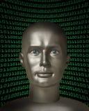 Android med mänskliga ögon som är främre av binär kod Royaltyfria Bilder