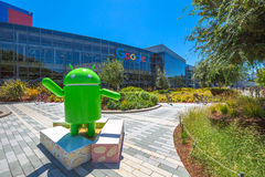 Android Nougat replica Google. Mountain View, California, USA - August 15, 2016: Android Nougat replica in front of Google office in Google headquarters building Stock Photo