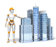 Android and office buildings. On white background Royalty Free Stock Image