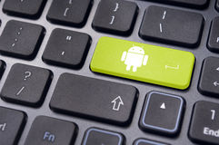 Android operating system logo on keyboard enter key Stock Photography
