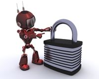 Android with padlock Stock Image