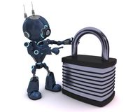 Android with padlock Royalty Free Stock Images
