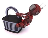 Android with padlock Royalty Free Stock Photo
