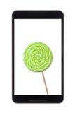 Android pastylka z lizakiem Zdjęcia Royalty Free