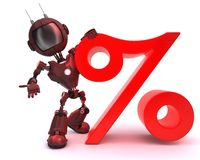 Android with percentage symbol. 3D Render of an Android with percentage symbol stock illustration