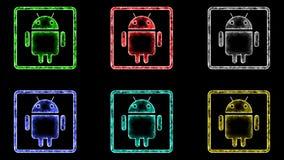 Android-Pictogram Kleurrijke Zwarte Achtergrond stock illustratie