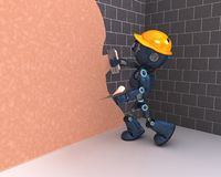 Android plastering a wall. 3D Render of an Android plastering a wall Royalty Free Stock Images