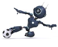 Android playing football. 3D Render of an Android playing football stock illustration