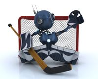 Android playing ice hockey Royalty Free Stock Photo