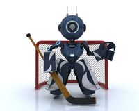 Android playing ice hockey. 3D Render of an Android playing ice hockey stock illustration
