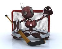 Android playing ice hockey. 3D Render of an Android playing ice hockey vector illustration