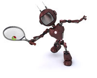 Android playing tennis Royalty Free Stock Photo