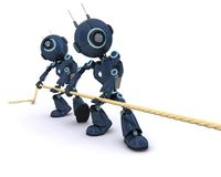 Android pulling on a rope. 3D Render of an Android pullling on a rope Royalty Free Stock Photo