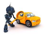 Android recherchant une voiture illustration de vecteur