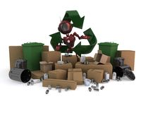 Android with recycling waste. 3D Render of an Android with recycling waste Stock Photo