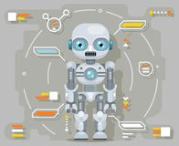 Android robot artificial intelligence futuristic information interface flat design vector illustration. Android robot artificial futuristic intelligence vector illustration