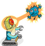 Android robot attack virus. An android robot attack a computer virus with laser beam Stock Image
