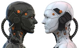 Free Android Robot Cyborg Woman Humanoid  Side View - 3d Rendering Royalty Free Stock Images - 149196529
