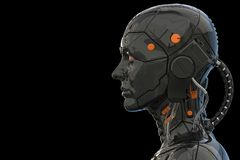Free Android Robot Cyborg Woman Humanoid  Side View - 3d Rendering Royalty Free Stock Photos - 149198588