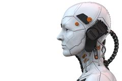 Free Android Robot Cyborg Woman Humanoid  Side View - 3d Rendering Royalty Free Stock Photo - 149202045