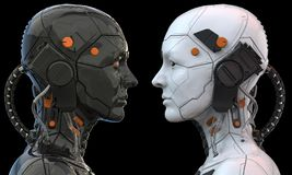 Free Android Robot Cyborg Woman Humanoid  Side View - 3d Rendering Royalty Free Stock Image - 149205276