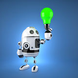 Android robot with green light bulb Royalty Free Stock Photos