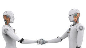 Android robot hand shaking royalty free stock photography