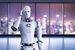 Android-robot het denken Royalty-vrije Stock Afbeeldingen