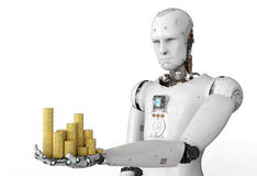 Android robot holding gold coins Stock Images