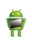 Android robot holding tablet. The Google Android character holding a tablet device vector illustration