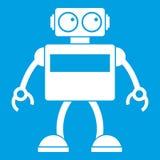 Android robot icon white Stock Image