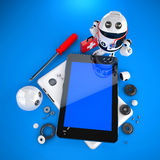 Android robot repairing tablet pc royalty free illustration