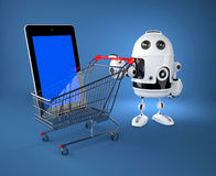 Android robot with shopping car. E-commerce concept Stock Photo
