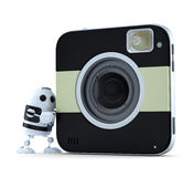 Android robot with squared digital camera Stock Photos