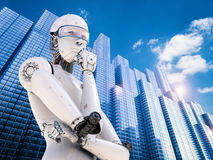 Android robot thinking. 3d rendering android robot thinking in city royalty free stock images