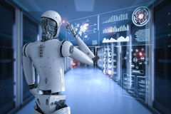 Android robot thinking Stock Image