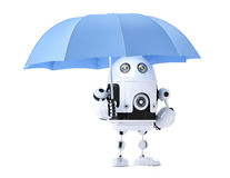 Android robot with umbrella. Security concept Royalty Free Stock Images