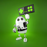 Android Robot with a wireless gamepad. Isolated on white Royalty Free Stock Photo