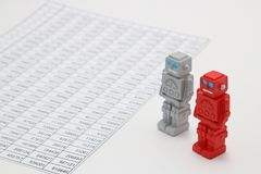 Android robots or artificial intelligence and numbers are written documents on white background. Android robots or artificial intelligence and numbers are Royalty Free Stock Image