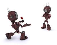 Android with Rose. 3D Render of an Android with Rose stock illustration