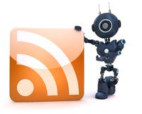 Android with RSS symbol Royalty Free Stock Photo