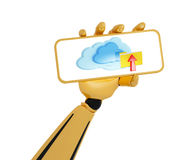 Android's hand hold a plate with cloud Stock Image