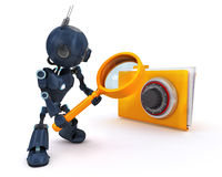 Android searching files. 3D Render of an Android searching files Royalty Free Stock Images