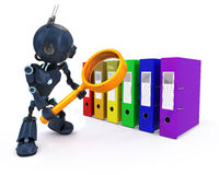 Android searching files. 3D Render of an Android searching files Royalty Free Stock Photo
